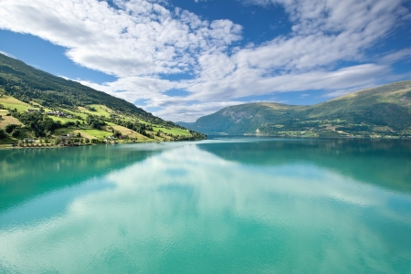 Scenic view of Nordfjord near Olden (Norway) photo
