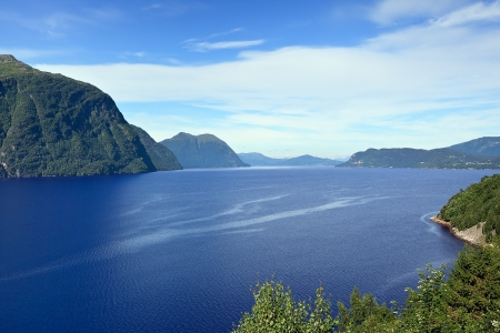 Scenic landscape on the banks of Storfjord (Norway)