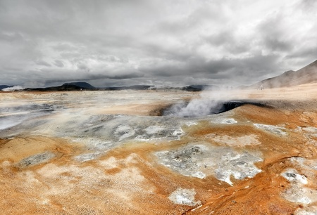 Scenic view of volcanic landscape with boiling mud (Iceland) Stock Photo
