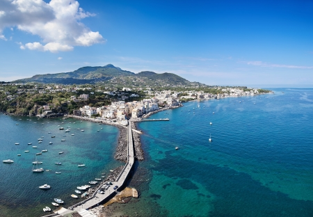 bird s eye view: Bird s eye view of Ischia Ponte, Ischia island  Italy   Image assembled from four vertical frames