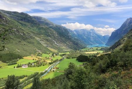 Mountain landscape near Jostedalsbreen glacier (Norway)