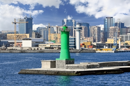 Scenic view of lighthouse at seaport, Naples (Italy) photo