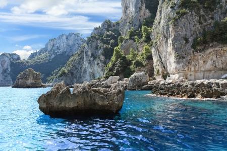 Scenic view of rocky coastline, Capri island (Italy)