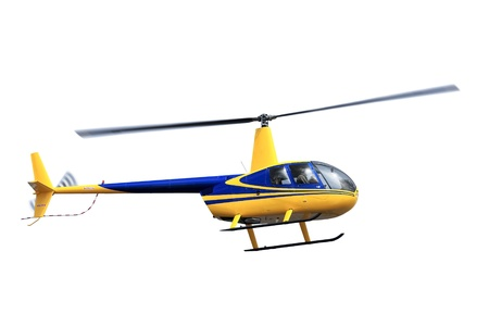 helicopter: Flying helicopter isolated on white background