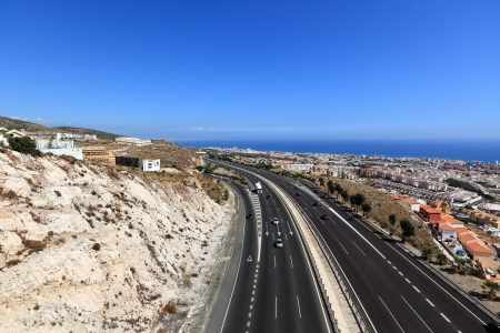 Birds eye view of Mediterranean highway (autovia del Mediterraneo), Benalmadena (Spain)