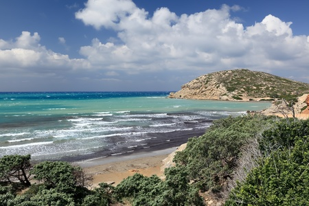 rhodes: Wild coastline of Aegean Sea at Prassonisi, Rhodes Island  Greece  Stock Photo