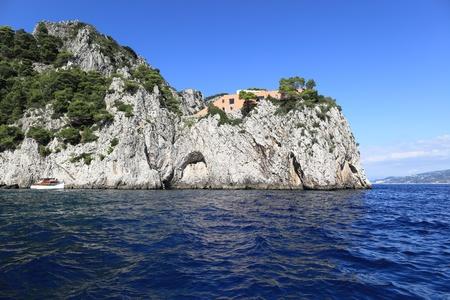 capri: Scenic view of Cape Massullo and famous Villa Malaparte, Capri island  Italy