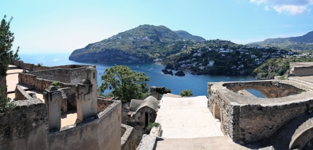 Panoramic view of coastline from medieval Aragonese castle, Ischia Island  Italy   Image assembled from few frames