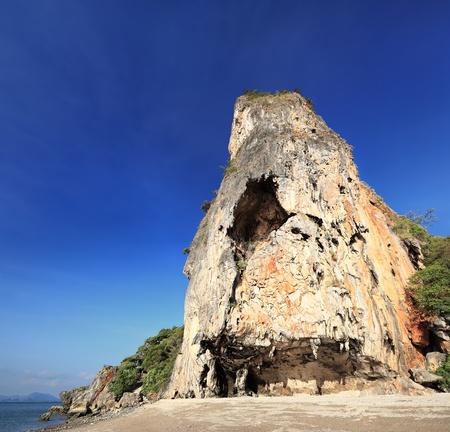 Giant rock on the island of James Bond  Khao Phing Kan island  in sunset light, Phuket  Thailand   Image assembled from few frames