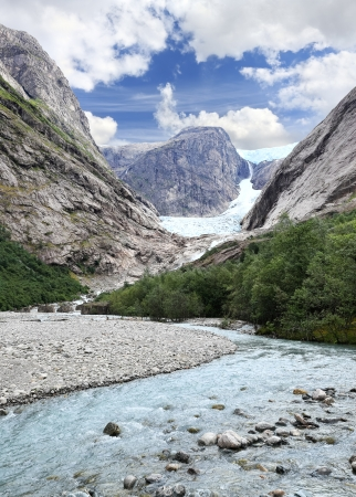 jostedal: Scenic view of a glacier at Norwegian mountains