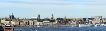 Panoramic view of city, Stockholm (Sweden). Image assembled from few frames. Reduced version of the image