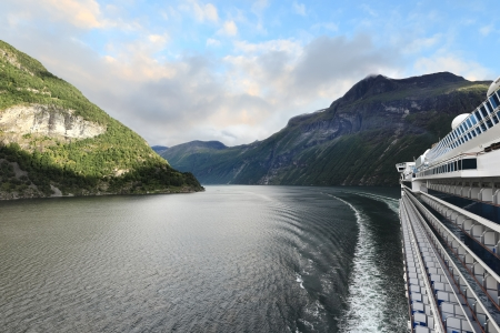 Scenic view of Geirangerfjord  Norway  from the deck of cruise ship