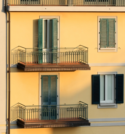 Wall of an apartment building in sunset light, Montecatini Terme  Italy   Image assembled from few frames