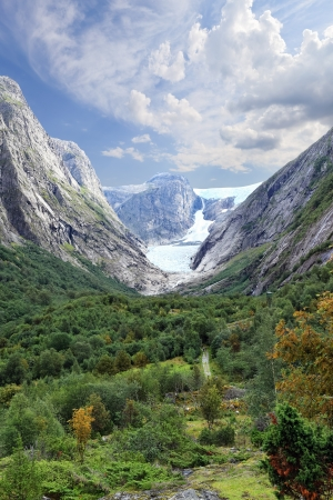 Scenic view of a glacier at Norwegian mountains