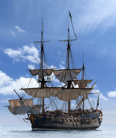 Scenic view of sailing ship at the Baltic Sea  Image assembled from few frames photo