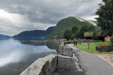 Scenic view of Oppstrynsvatnet lake at Geirangerfjord area  Norway  Stock Photo