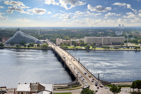 bird s eye: Bird s eye view of Daugava river, Riga  Latvia