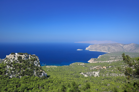 Scenic view of the Aegean sea and the castle of Monolithos,  Rhodes Island (Greece)