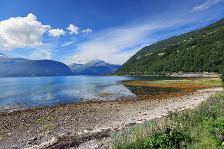 Scenic view of mountain lake at Alesund area (Norway)