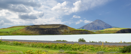 Panoramic view of a small volcano, Myvatn lake - Iceland. Image assembled from few frames