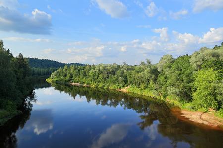 sigulda: Summer landscape on the river Gauja, Sigulda - Latvia Stock Photo