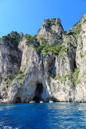 View of coastline with grottoes, Capri island - Italy