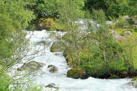 jostedalsbreen: Mountain river near the Jostedalsbreen glacier, Norway - Scandinavia