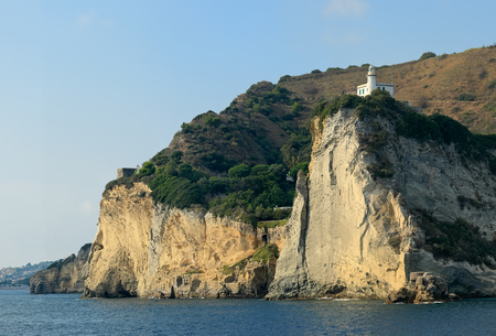 Lighthouse on cliff of Cape Miseno, Bacoli - Naples Italy. Image assembled from few frames Stock Photo