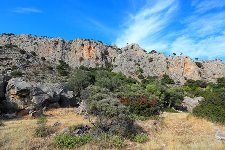 Mountain landscape in Lindos, Rhodes island - Greece Stock Photo