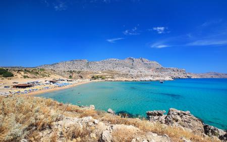 Agathi beach on coast of Mediterranean sea, Rhodes Island Greece