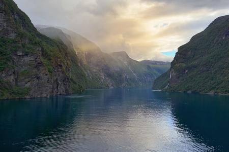 Evening in Geirangerfjord, Geiranger - Norway - Scandinavia Stock Photo
