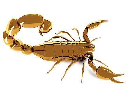 Golden scorpio on white background. Result of rendering 3d model Stock Photo