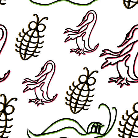 Duck and insects vector seamless pattern.Seamless pattern can be used for wallpaper, pattern fills, web page background, surface textures. Vettoriali