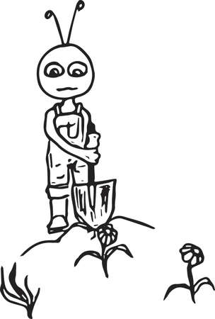 Ant digging in the kitchen-garden.Vector illustration.