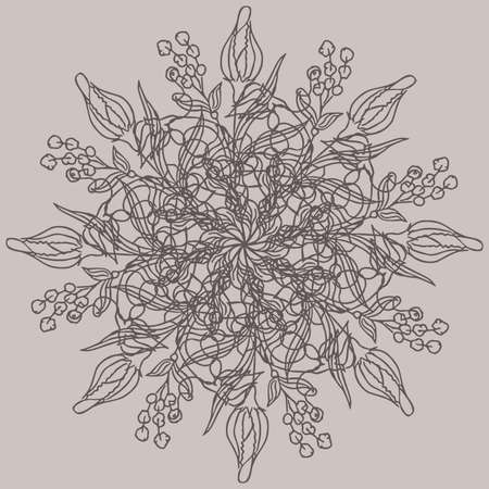 Ornament beatiful flower. Round pattern. Mandala. Vector illustration.