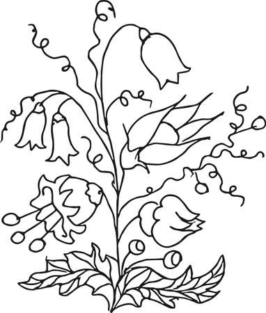 Curly flower. Vector illustration. Vettoriali