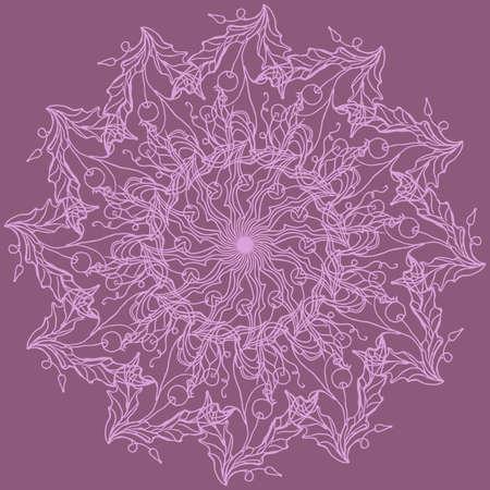 Circular ornament. Flower napkin. Vector illustration. Vettoriali