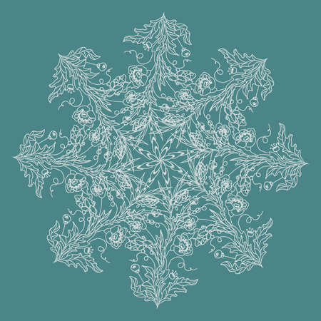 Round pattern. Ornament. Flower snowflake. Vector illustration. Vettoriali