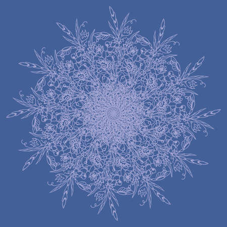 Lace Cobweb. Ornament. Round pattern. Flowers. Snowflake. Vector illustration
