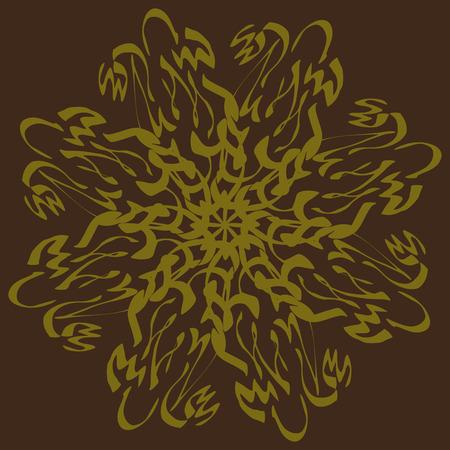 Flower snowflake. Circular flower ornament. Vector illustration. Vettoriali