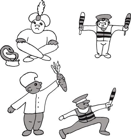 The profession set. Fakir, a snake handler, regularuser, a policeman, a chef. Vector illustration.