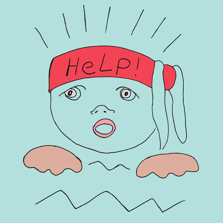 A drowning child calls for help. Vector illustration. Vettoriali