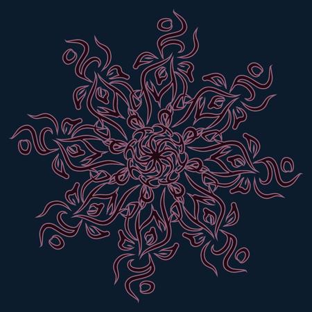 Ornament. Round pattern. Flowers. Mandala. Vector illustration.