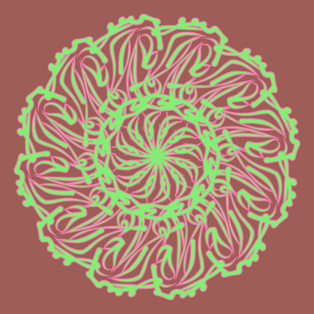Lace pattern. Round pattern. Circular ornament. Vector illustration.
