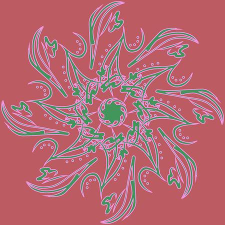 Circular abstract flower. Colorful watercolor mandala. Invitation, t-shirt print, wedding card. Tattoo element. Vector illustration. Vettoriali