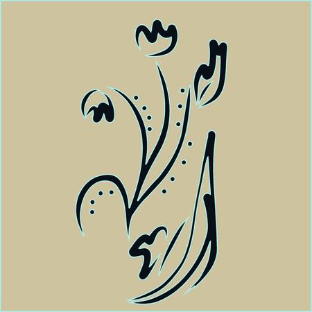 Abstract flower. Invitation, t-shirt print. Tattoo element.Vector illustration.