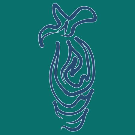 Abstract swan. Invitation, t-shirt print. Tattoo element.Vector illustration. Vettoriali