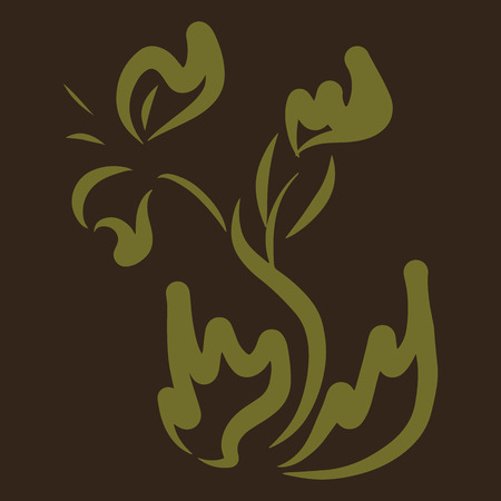 Golden Flower. Invitation, t-shirt print. Tattoo element.Vector illustration. Vettoriali