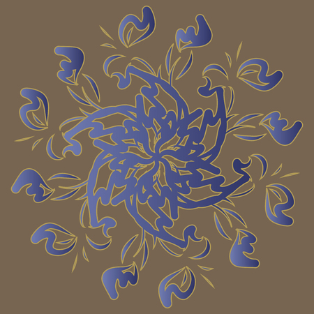Flower circle. Round pattern. Ornament. Flowers. Invitation, t-shirt print. Tattoo element.Vector illustration.