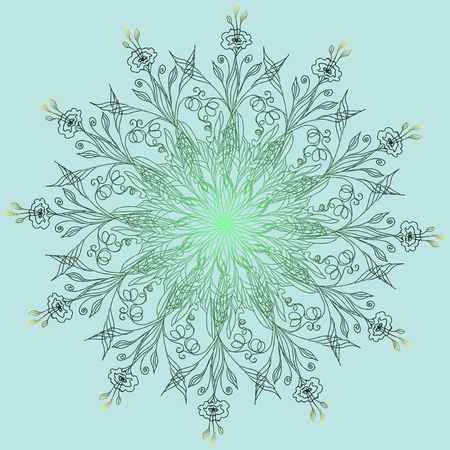 Flower. Mandala. Invitation, t-shirt print. Tattoo element. Vector illustration.